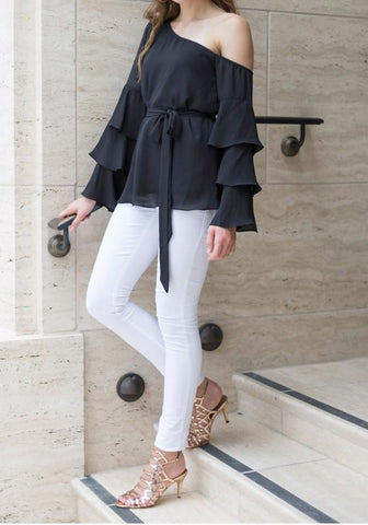 Black Asymmetric Shoulder Sashes Cascading Ruffle Long Sleeve Casual Blouse