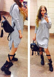 Grey Drawstring Irregular Side Slit Hooded Long Sleeve Oversize Sweatshirt