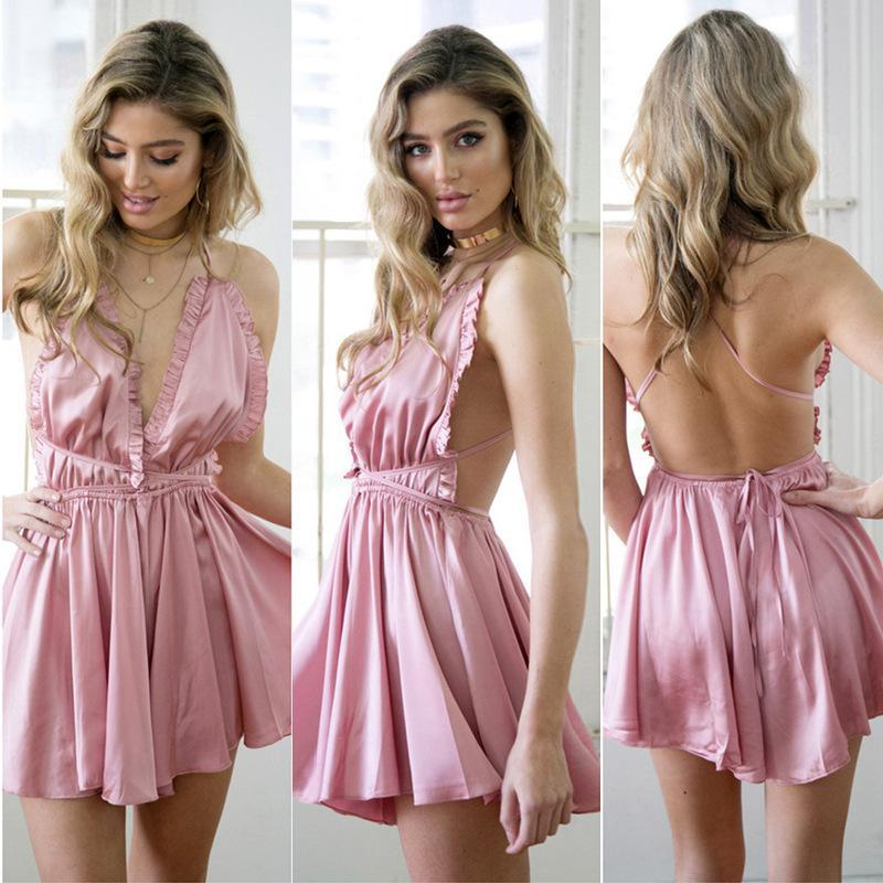 Deep V-neck Halter Backless Pleated Short Jumpsuit