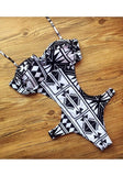 White-Black Geometric Print Cut Out Halter Neck One Piece Swimwear
