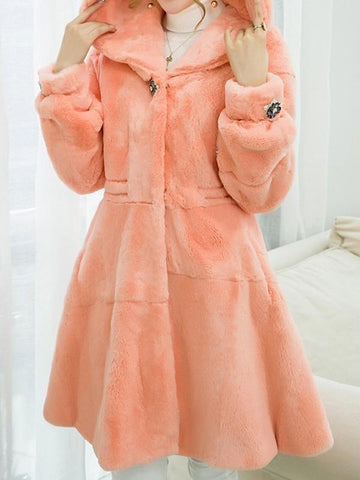 New Pink Pockets Rhinestone Hooded Long Sleeve Fashion Faux Fur Coat