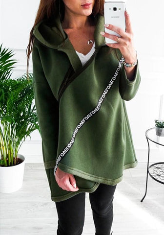 Green Love Letter Print Irregular Zipper Casual Cardigan Hooded Sweatshirt