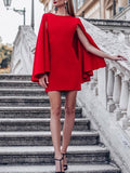 New Red Patchwork False 2-in-1 Christmas Party Cape Mini Dress