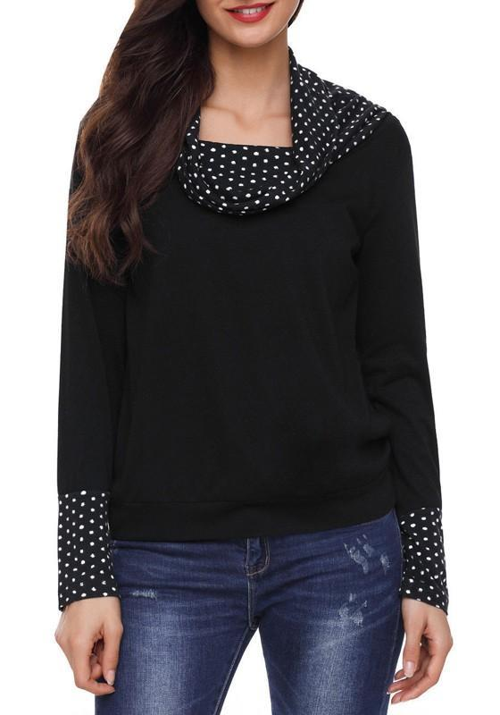 Black Patchwork Polka Dot Breastfeeding Multi-fonction Cowl Neck Casual Maternity Pullover Sweatshirt