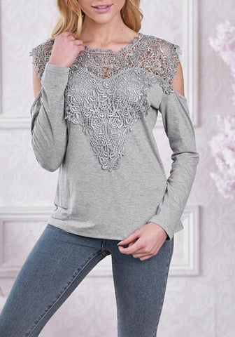 Grey Patchwork Lace Cut Out Sleeve Office Worker/Daily Elegant Blouse
