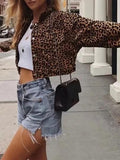 Onlinechoic Brown Leopard Pockets Buttons Turndown Collar Fashion Outerwear