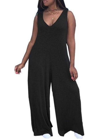 Black V-neck Sleeveless Wide Leg Night Club Casual Long Jumpsuit