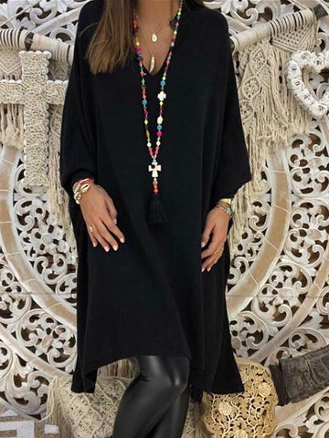 Black Irregular V-neck Long Sleeve Midi Dress