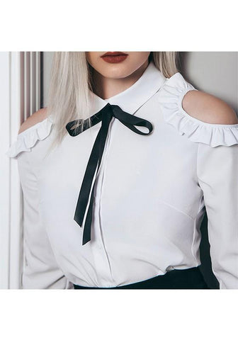 White Single Breasted Ribbons Turndown Collar Cute Blouse