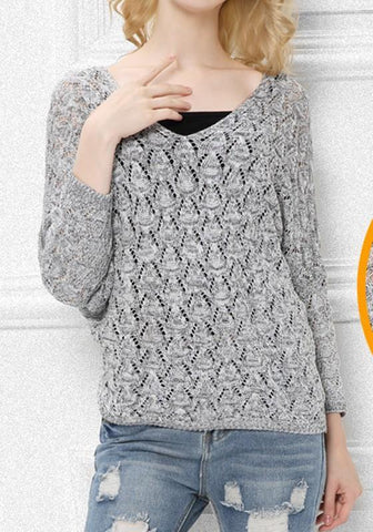 Grey V-neck Dolman Sleeve Oversize Fashion Pullover Sweater