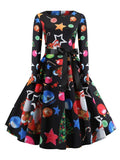Black Floral Print Sashes Round Neck Long Sleeve Christmas Party Midi Dress