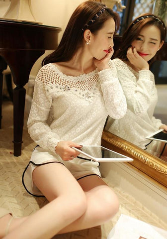 White Floral Rhinestone Hollow-out Lace Round Neck Blouse