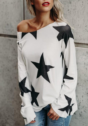 White Star Print Asymmetric Shoulder One Off Shoulder Long Sleeve Casual T-Shirt