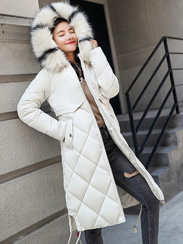 White Patchwork Fur Pockets Drawstring Zipper Side Slit Hooded Long Sleeve Casual Coat
