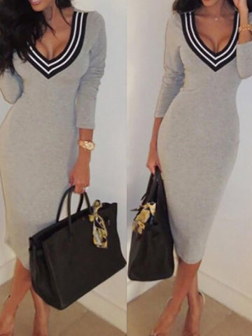 New Grey Patchwork Print Long Sleeve Deep V-neck Casual Midi Dresse