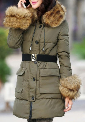 Army Green Pockets Fur Zipper Hooded Long Sleeve Fashion Outerwear