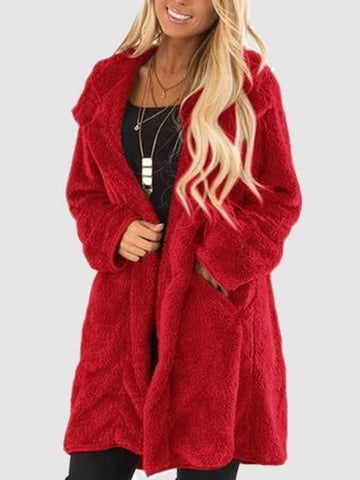 New Red Pockets Turndown Collar Long Sleeve Oversize Casual Coat