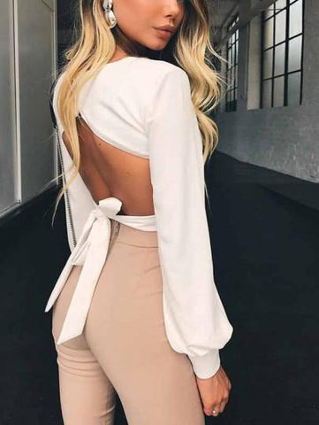 Onlinechoic White Cut Out Bodycon Square Neck Long Sleeve Going out Blouse