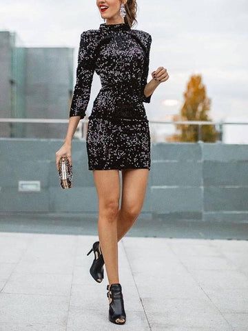 Black Patchwork Sequin Long Sleeve Round Neck Sparkly Glitter Birthday Bodycon Party Mini Dress