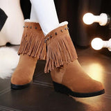 Brown Round Toe Within The Higher Tassel Casual Boots