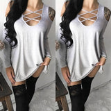 Light Grey Cut Out Tie Back Long Sleeve Casual T-Shirt