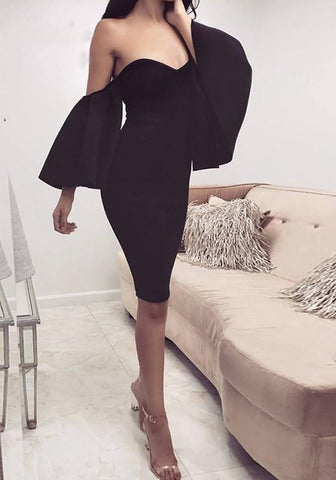 Black Off Shoulder Ruffle Backless Bell Sleeve Bodycon Elegant Party Fashion Midi Dress