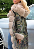 Army Green Camouflage Pockets Hooded Fur Collar Long Sleeve Parka Coat