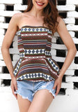 Brown Geometric Tribal Floral Print Off Shoulder Backless Peplum Casual Bohemian Blouse