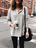 Grey Buttons V-neck Long Sleeve Oversize Casual T-Shirt