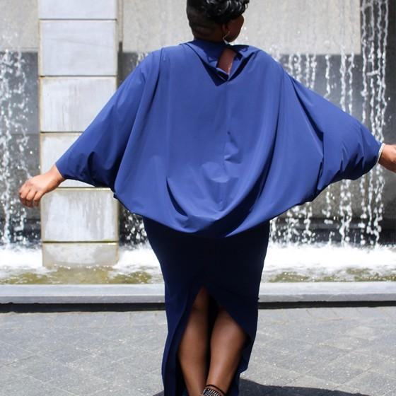 Dark Blue Slit Bodycon Batwing Sleeve Fashion Party Maxi Dress