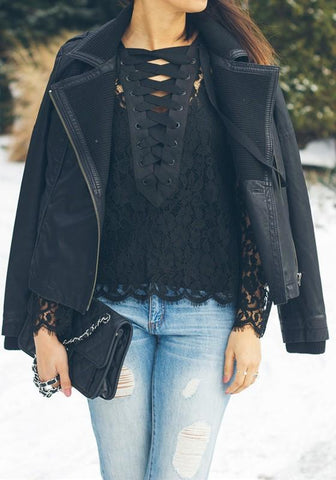 Black Lace Lace-up V-neck Long Sleeve Fashion Blouse