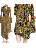 Yellow Leopard Cut Out Irregular Side Slit Deep V-neck Flowy Casual Maxi Dress
