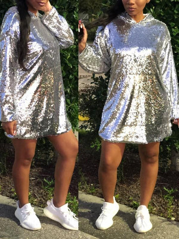 New Silver Patchwork Sequin Pockets Hooded Long Sleeve Sparkly Glitter Birthday Party Mini Dress