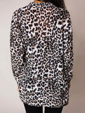 New Black Leopard Turndown Collar Long Sleeve Casual Outerwear