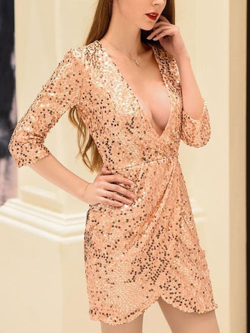 Pink Sequin Irregular V-neck Three Quarter Length Sleeve Elegant Mini Dress