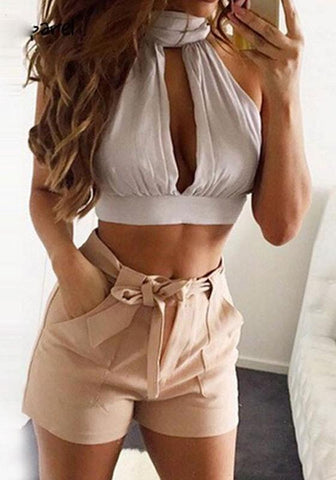 White Cut Out Tie Back Midriff Round Neck Vest