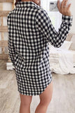 Onlinechoic Casual Plaid Grids Printed Mini Dress