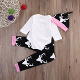 Newbabychic Autumn Long Sleeve Tops Romper +Long Pants Hat 2pcs Newborn Baby Boy Clothes Set