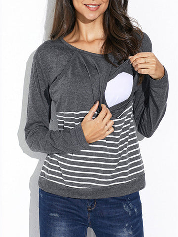 Newbabychic Casual Striped Maternity O-Neck Cotton Nursing Tops