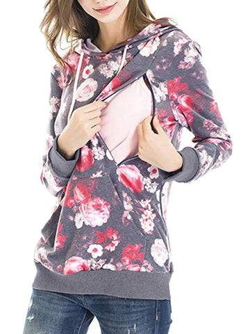 Newbabychic Front Open Floral Maternity Hooded Tops