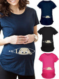Newbabychic Cute Pattern Elastic Tummy Maternity Tops Tees For Pregnancy Women