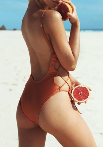 Orange Cut Out Lace-up Backless Spaghetti Strap One Piece Swimsuit