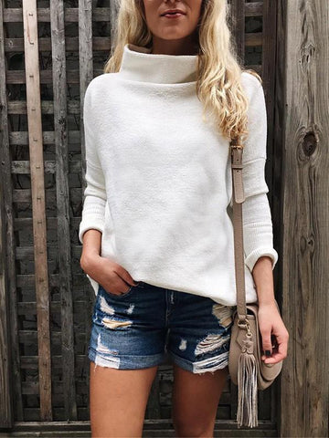 White Plain High Neck Long Sleeve Going out Casual Blouse