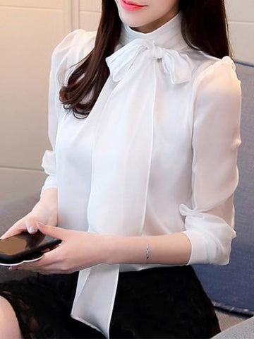 Onlinechoic White Patchwork Bow Band Collar Elegant Chiffon Blouse