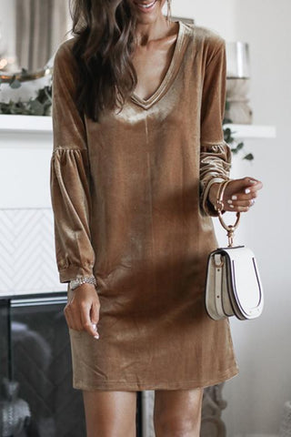 Onlinechoic V-Neck Party Puffed Sleeves Dress