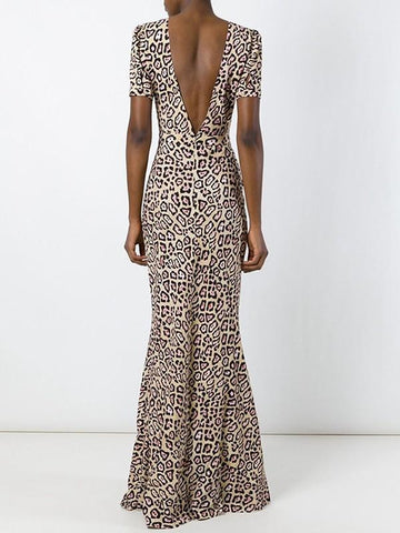 New Leopard Backless Mermaid Puff Short Sleeve Round Neck Fashion Elegant Maxi Dress