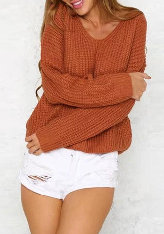 Red Patchwork Cut Out Drawstring Backless V-neck Long Sleeve Sweater