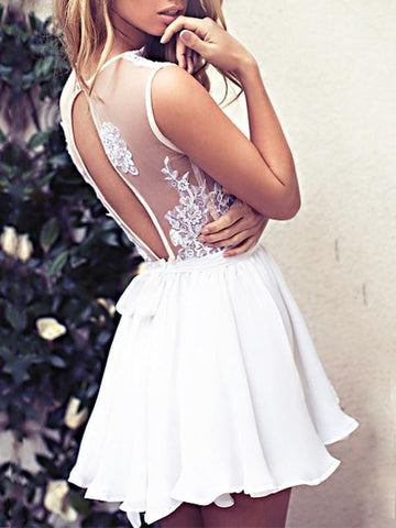 New White Patchwork Lace Backless Deep V-neck Sleeveless Party Mini Dress