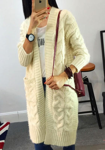 Beige?Patchwork Pockets V-neck Long Sleeve Casual Cardigan Sweater