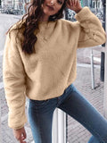 Khaki Plain Round Neck Going out Sweet Pullover Sweatshirt